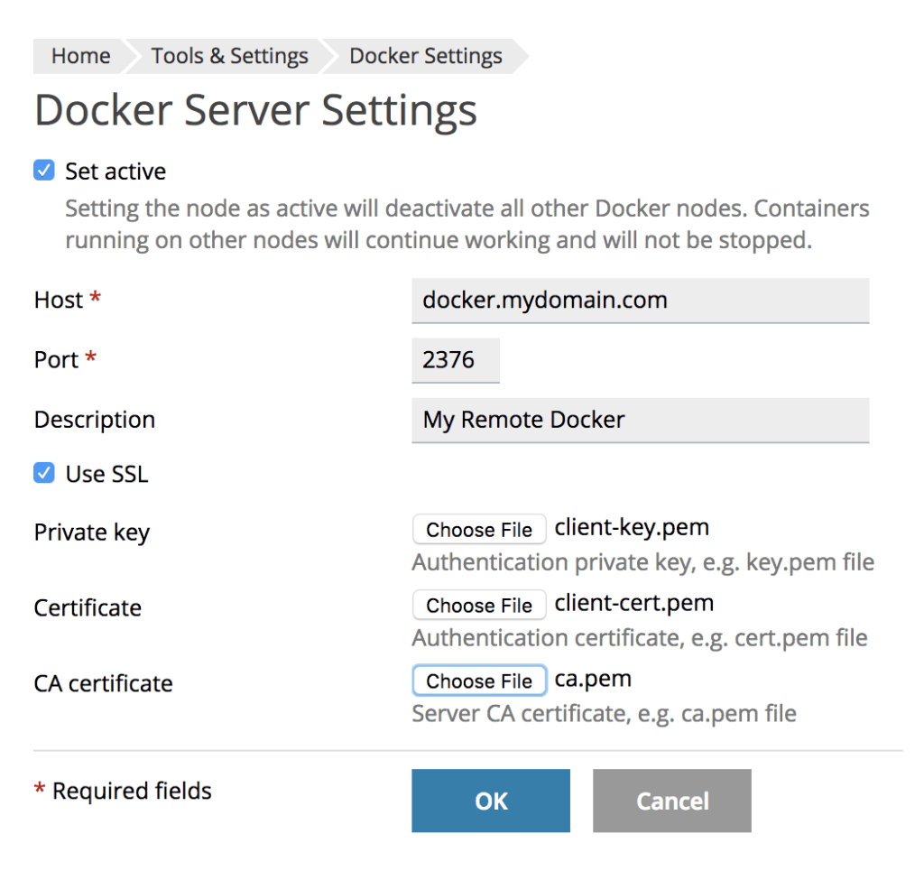 Plesk Docker Add Remote Server