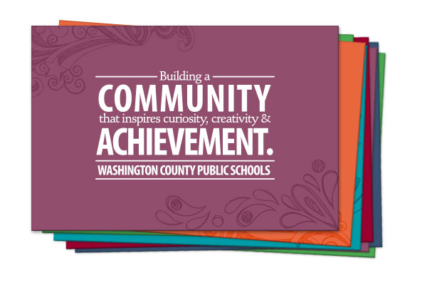 2014. The Washington County Board of Education approached the team at Icon Graphics to create a rainbow assortment of 8 thank you cards with their vision statement on the front. Four cards inccorporated the doodled designs we used on their advertising campaign, and 4 cards were just solid colors.