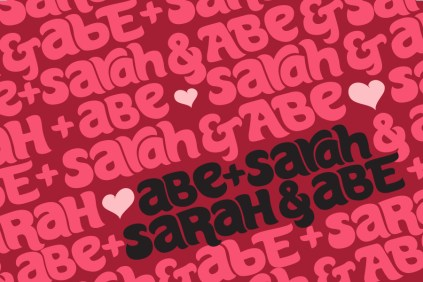 2013. Blog friends Sarah Moon & Abe Kobylanski asked me to create their wedding invitations. Sarah and Abe are both feminists and activists, so I wanted to create a design that showcased the true equality in their relationship. I hand-lettered their names and created a pattern where, no matter how you look at it, endlessly loops their names so neither has more weight than the other. I chose pink because that was the color of Sarah's wedding dress.