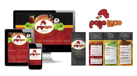 Custom-illustrated and lettered logo design, initial menu design, and responsive menu site design, as part of the team at Icon Graphics.
