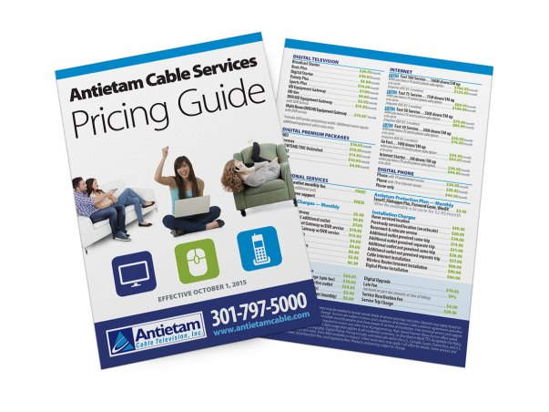 Antietam Cable's pricing insert for their services, based on the successful design style used for their Home of the Future campaign. Design as part of Icon Graphics.