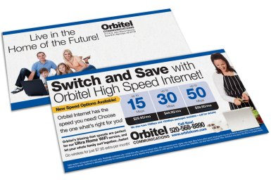 Postcard design for Orbitel Communications' internet service, as part of the team at Icon Graphics.