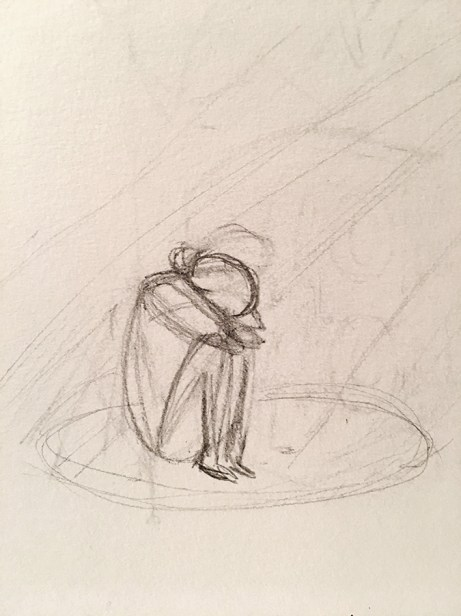 A messy sketch of a person sitting with their knees up against their chest, their arms clutching their head as they crouch and hide.