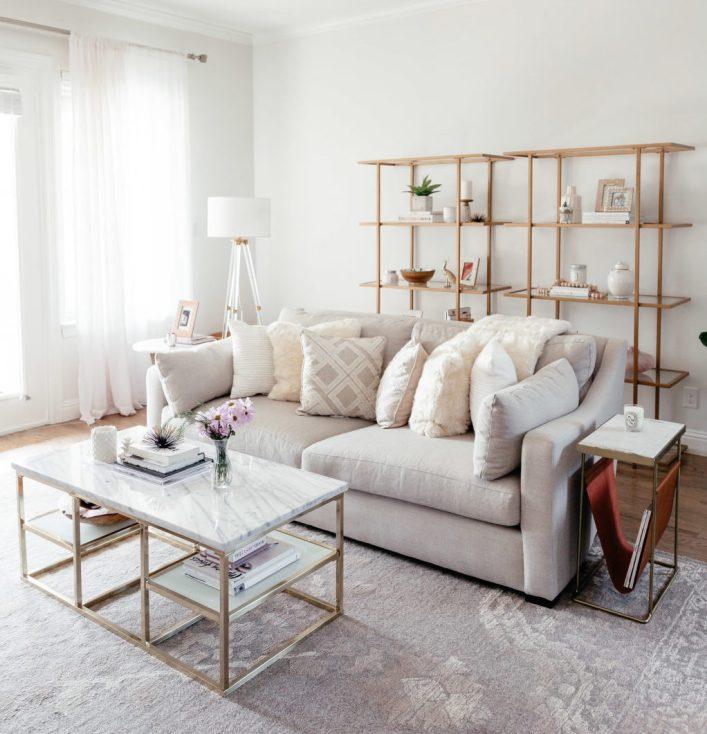 gold book shelves living room
