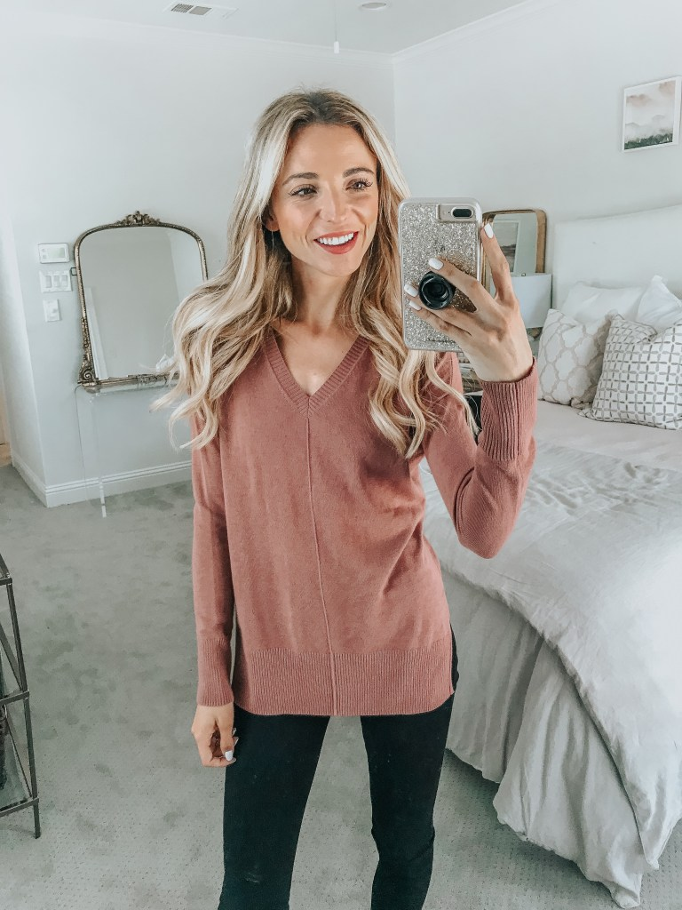 trouve blush pink sweater nordstrom sale