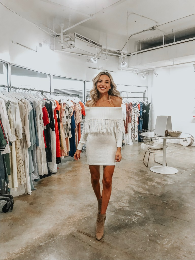 white sweater dress outfit