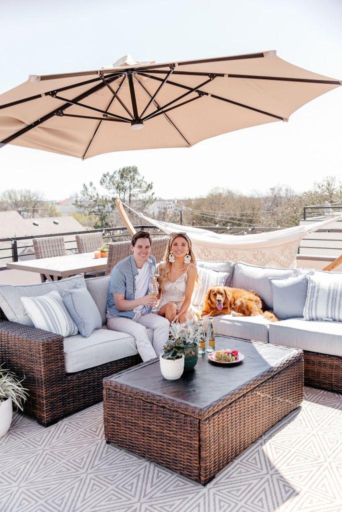blue and tan patio decor