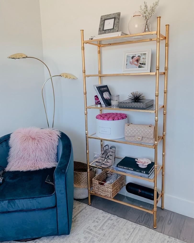 pier 1 gold bookcase