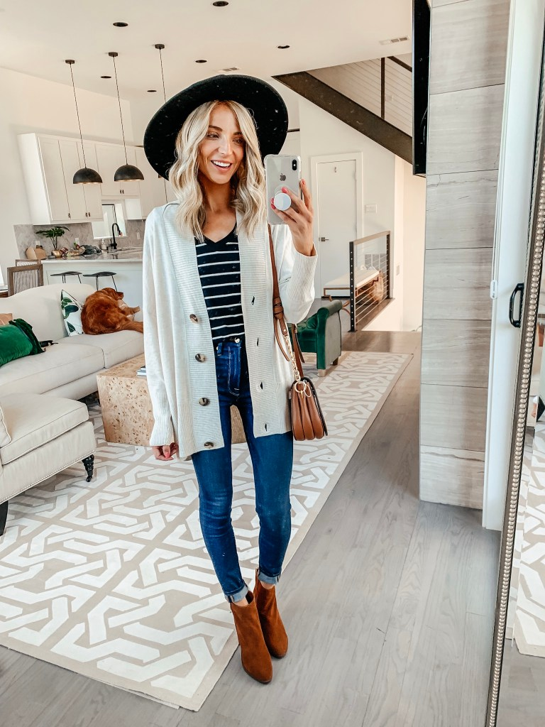 chelsea 28 button cardigan bp tee fall outfit