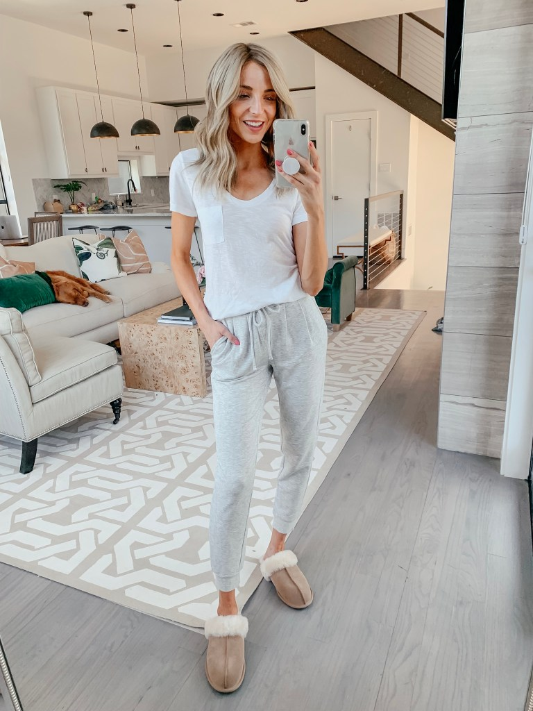 bp gray joggers ugg slippers comfy outfit