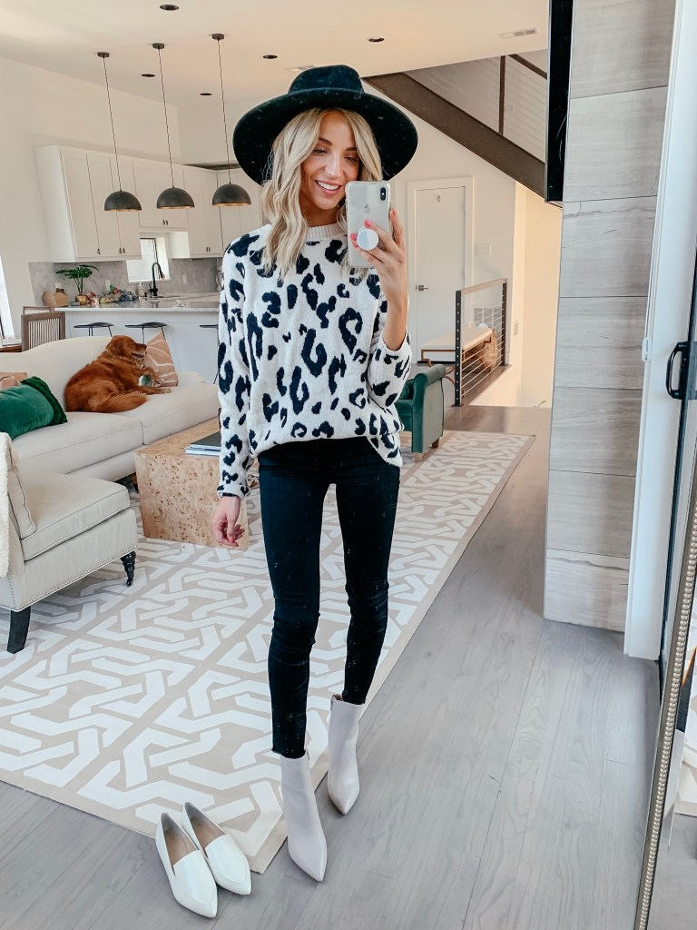 something navy leopard print sweater