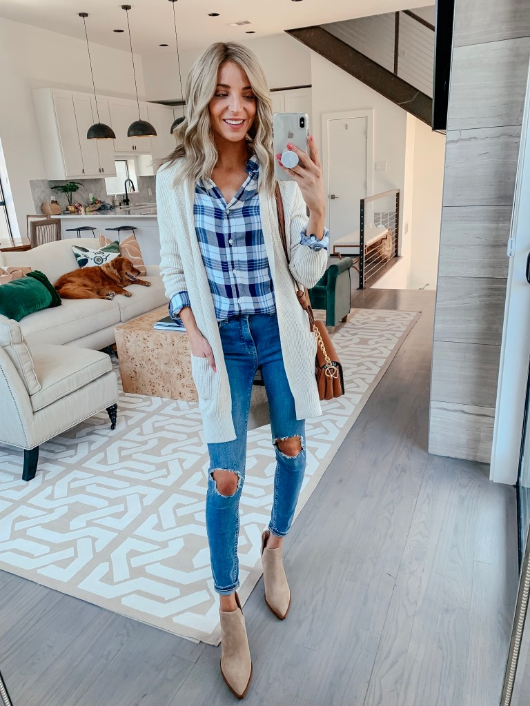 plaid top cream cardigan fall outfit