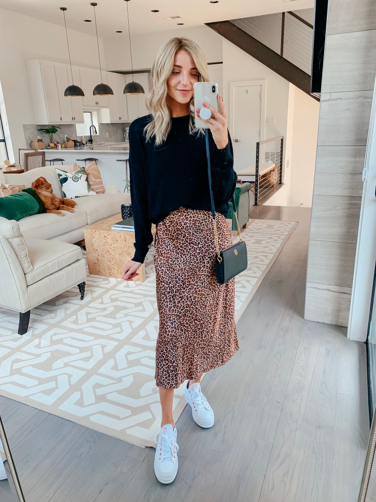 something navy leopard midi skirt outfit