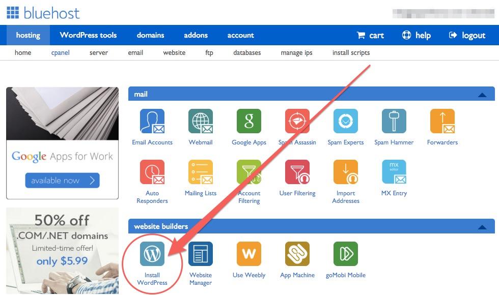 bluehost-wordpress-install-option