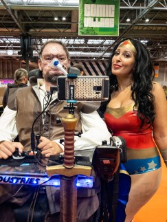 Daniel Baker dressed as the Flash with Tasha Cosplay dressed as Wonder Woman