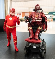 Daniel Baker dressed as the Flash with another Flash cosplayer