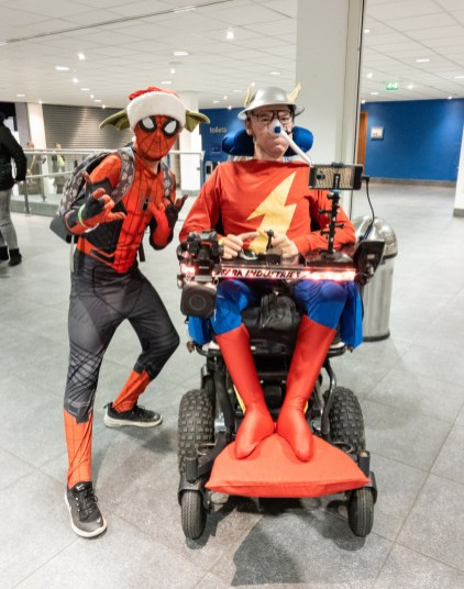 """Daniel dressed as Jay Garrick """"The Flash"""" at Wales Comiccon with a Spiderman cosplayer"""