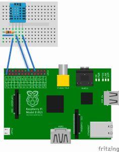 DHT11 am Raspberry Pi_Steckplatine