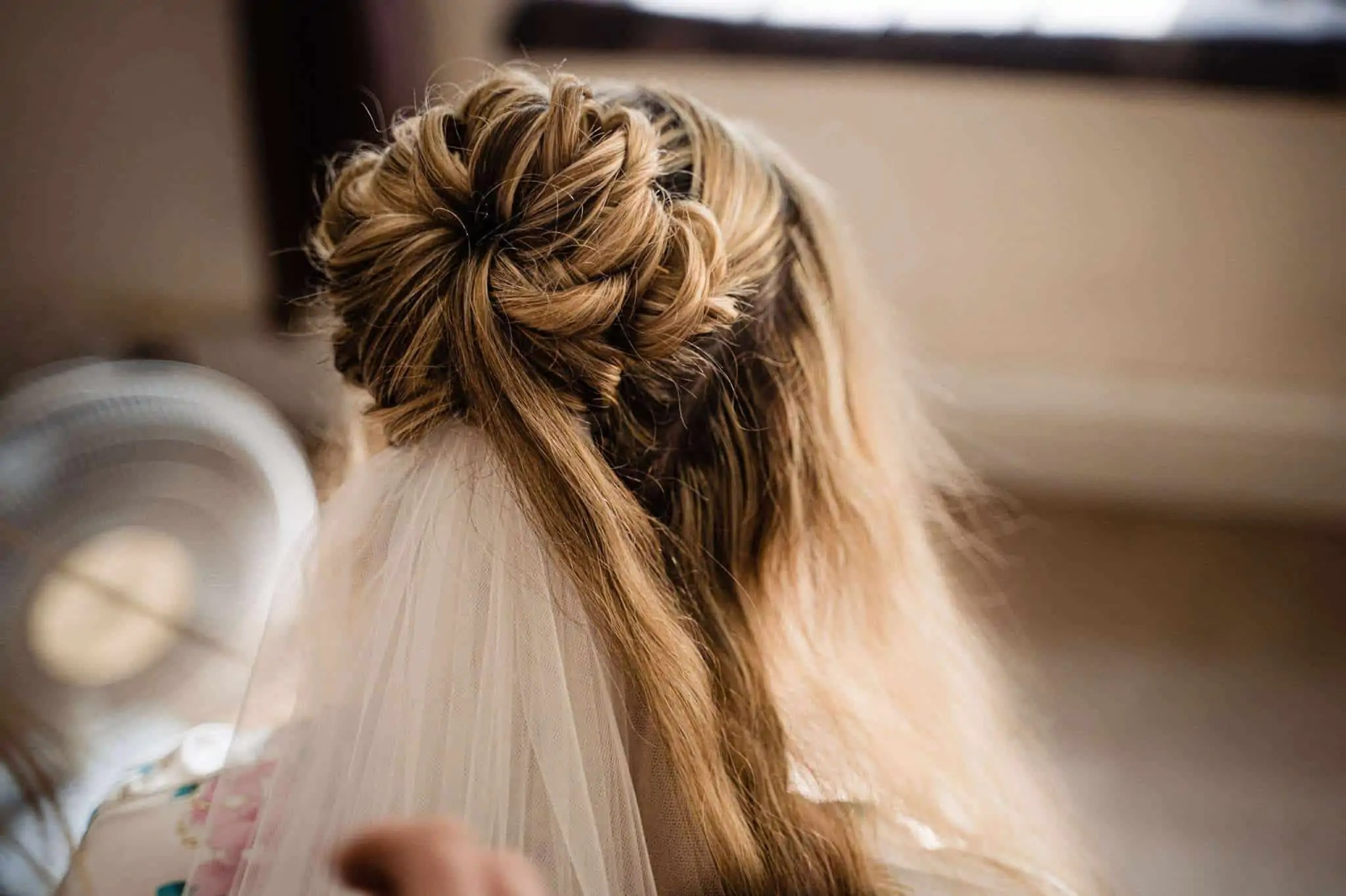 A brides hair during bridal prep in Bournemouth