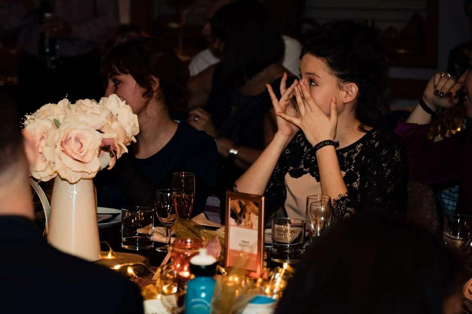 A wedding guest crying during the grooms speech