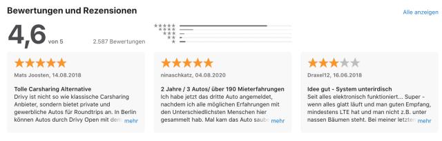 Getaround App Store Bewertungen