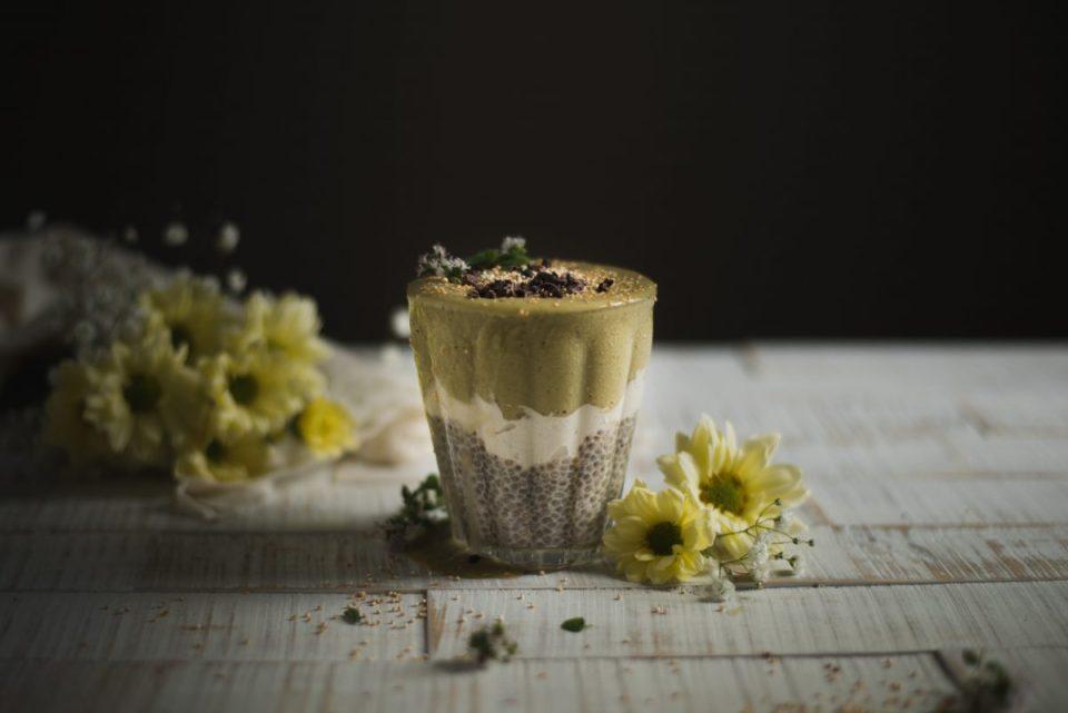 Chia pudding with Matcha Ice Cream and Cashew vanilla cream