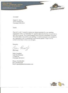 Testimonial thanks letter from Lake Erie Monsters