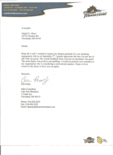 Testimonial thanks letter from Lake Erie Monsters