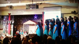 The whole church group perform