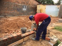 Daniel layine first bricks for the foundations