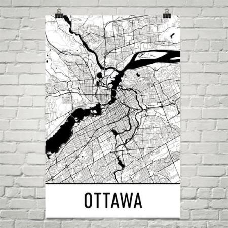 Modern Map Art - Ottawa
