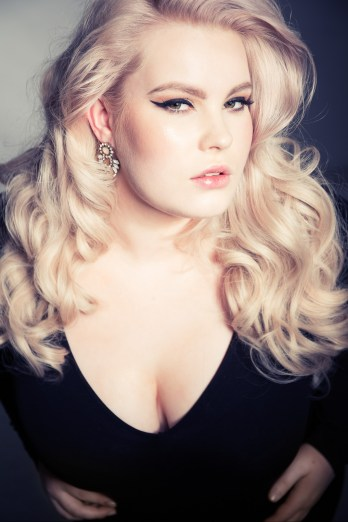 Alexis at the studio, performing for the 50s plus size project