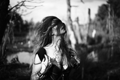 Lovely Mathory, testing a corpsepaint. All B&W in camera, only minor edits.