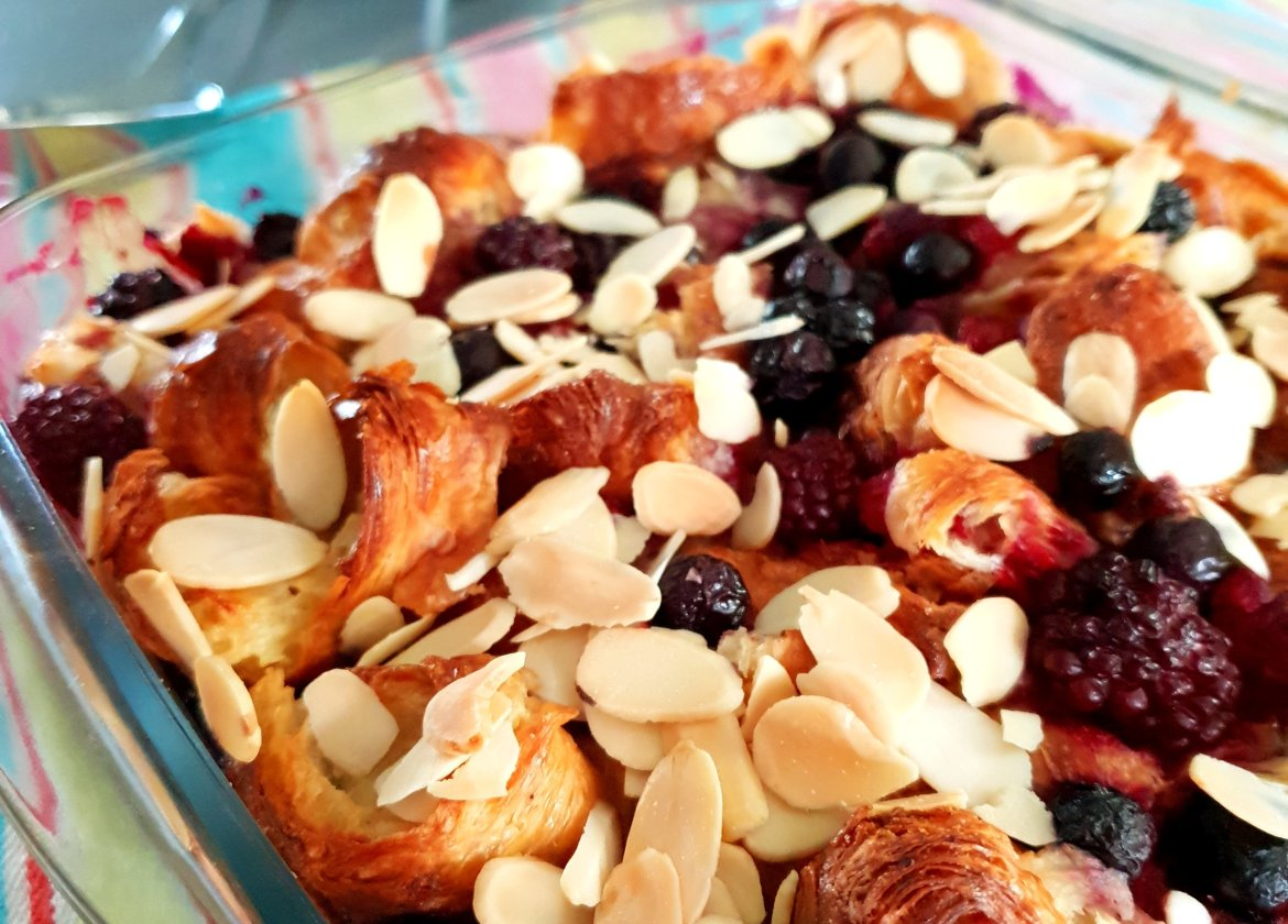 breakfast croissant bake with berries and flaked almonds