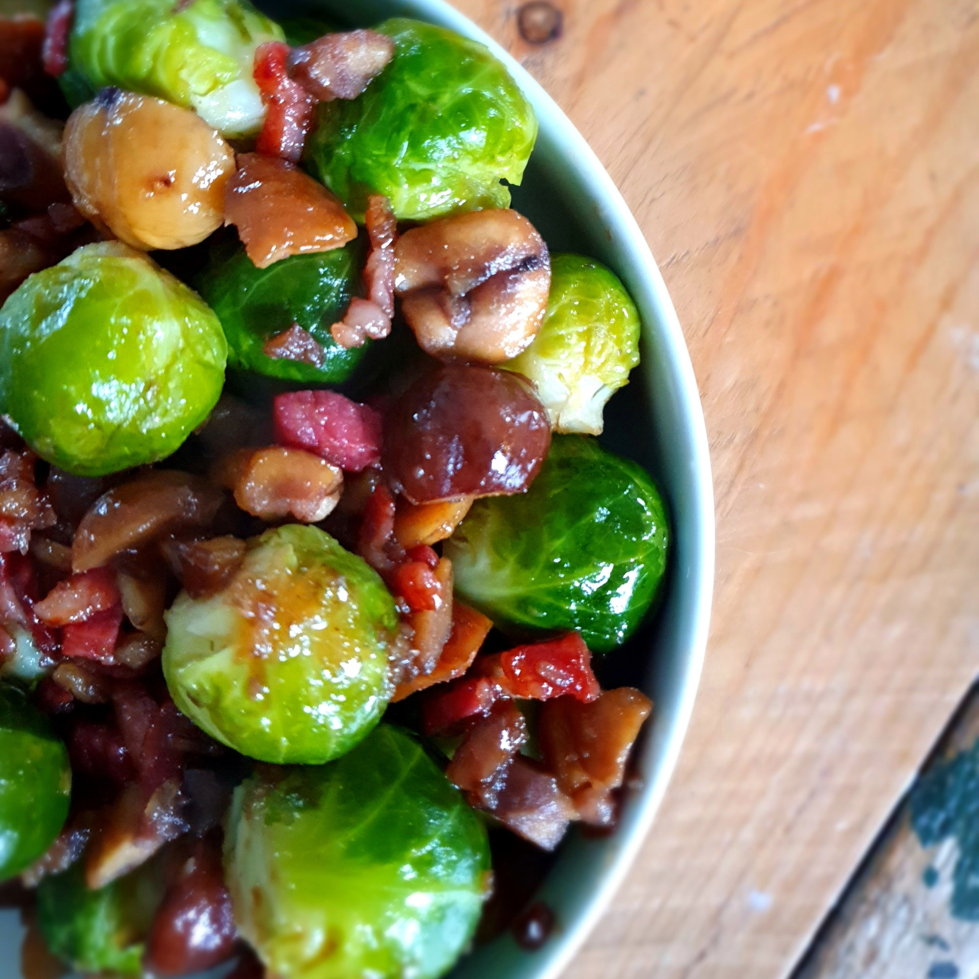 Maple brussel sprouts with pancetta and chestnuts