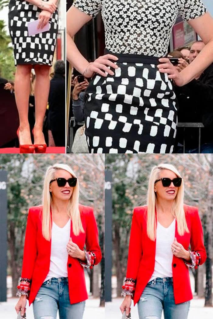 Look combinando preto, vermelho e branco