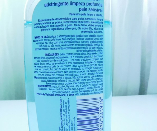 ingredientes do tônico adstringente clean &clear