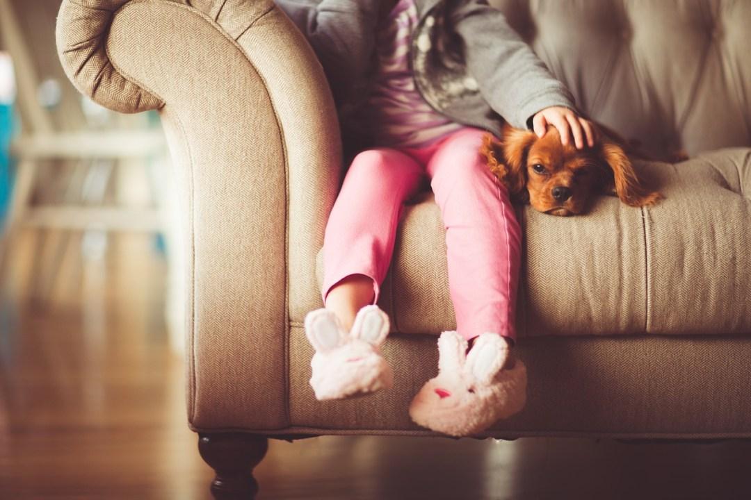 menina com cachorrinho no sofá