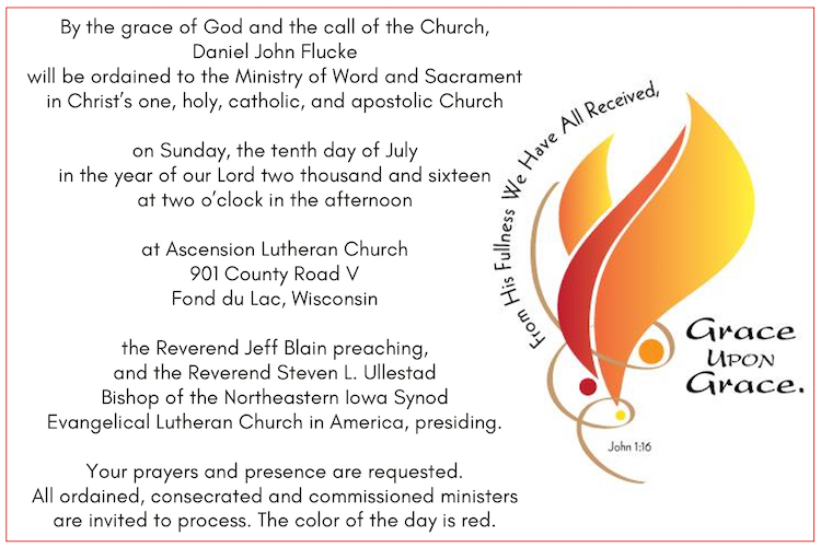 Ordination Bulletin And Pictures Daniel Flucke
