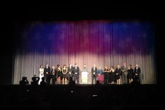The cast of Don McKellar's The Grand Seduction on stage at Roy Thompson Hall