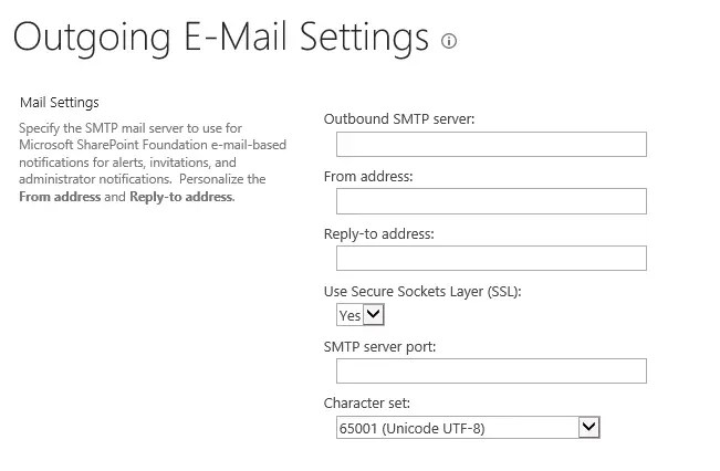 SharePoint Server 2016 Outgoing E-Mail Settings