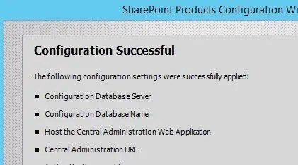 SharePoint 2016 Configuration Successful