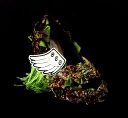Criminal Aesthetic Fashion #13, 2013 cotton textures, wings and rafia, size 39 / 9, unique piece