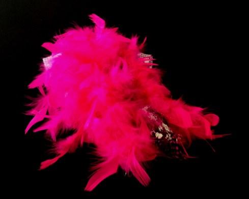 Criminal Aesthetic Fashion #26, 2013 plumes, lace and glitter, size 40 / 9, unique piece