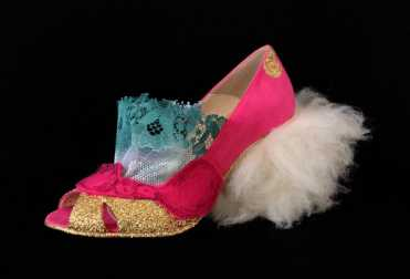 Juliet & the Forbidden Games Shoes #16, 2013, lace, glitter, felt and sheep fur on leather shoes, unique piece