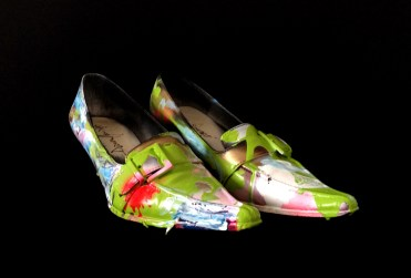Juliet & the Forbidden Games Shoes #3, 2013, spray and acrylic on leather shoes, unique piece