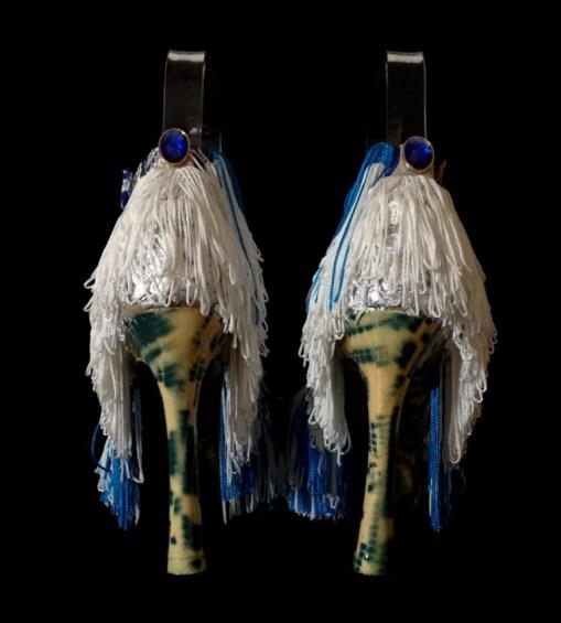 Daniel González, Bastardisation #31, 2014, fringes, bijou, silver leaf and spray paint on cross string sandal, n38-7, unique piece