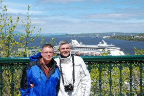 Andy & me with HAL Veendam behind us, Ville de Québec