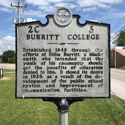 08b - Burritt College historical marker in Spencer, TN.  Lots of Hastons attended school here.