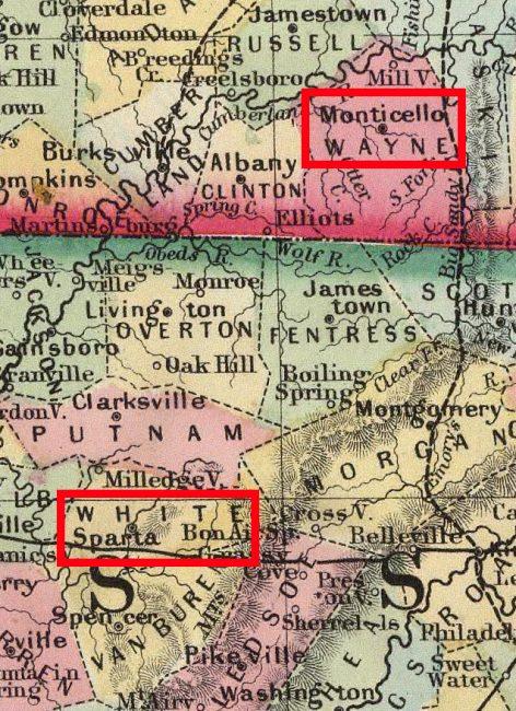Wayne Co KY to White Co TN map